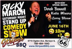 Saturday Night Comedy Show w/Ricky March @ Cigars and Stripes BBQ | Berwyn | Illinois | United States